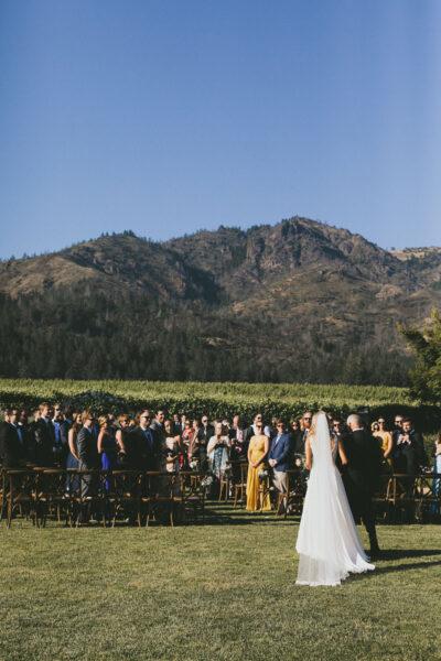 Outdoor wedding ceremony in the vineyards