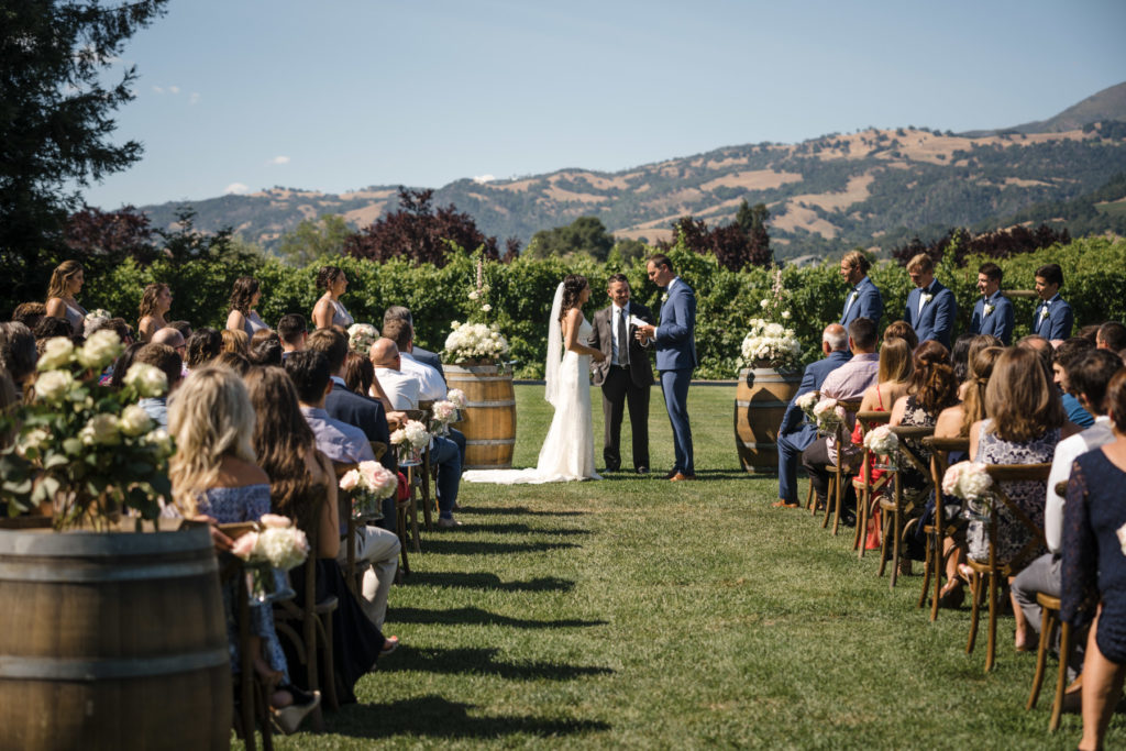 Ceremony at California wine country wedding at Trentadue Winery