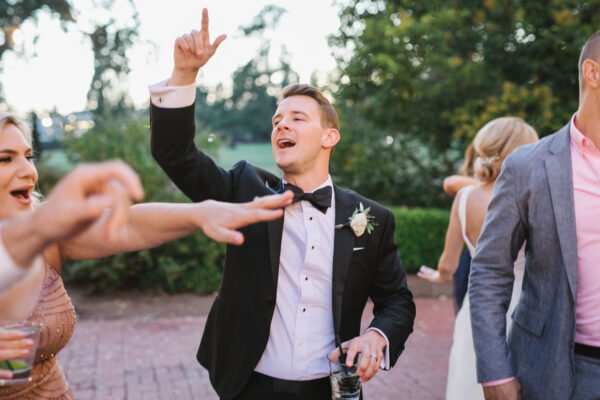 Groom dancing at his destination wedding in the Napa Valley