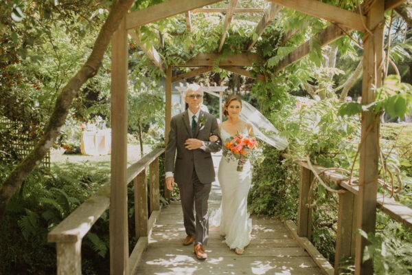 Garden wedding ceremony for Kelsey and Adam