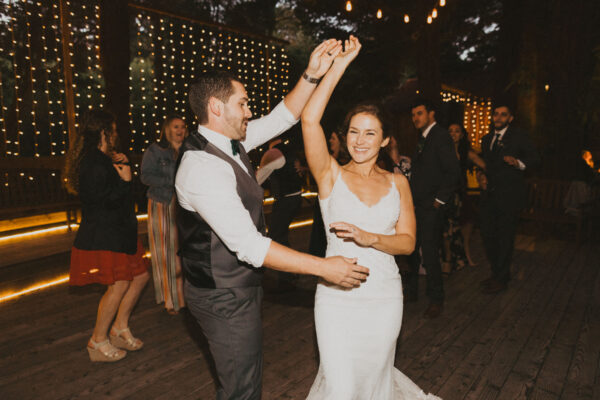 Dancing the night away at their garden wedding reception.