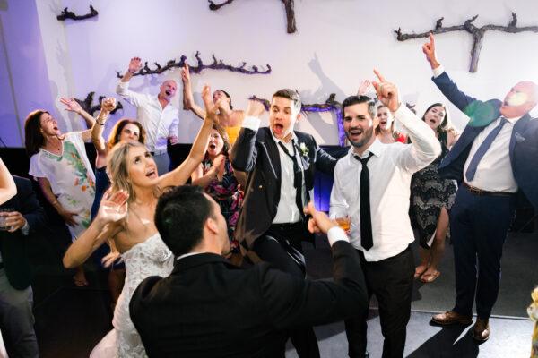 Packed dance floor at Tre Posti wedding