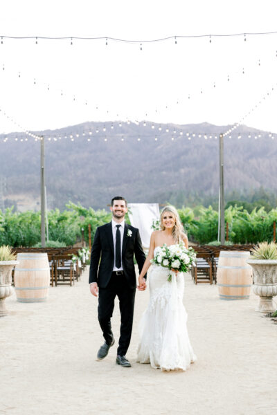 Bride and groom at their Napa Valley wedding