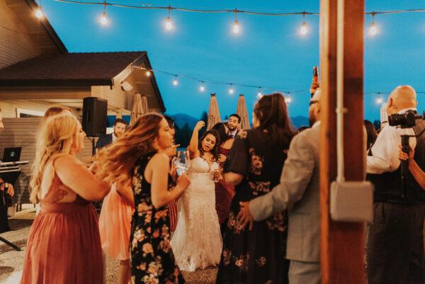 Dance floor at summer wine country wedding